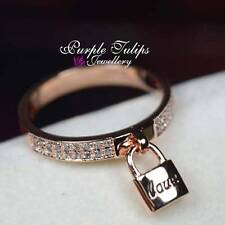 18K Rose Gold Plated LOVE Lock Dazzling Ring Made With Swarovski Crystals
