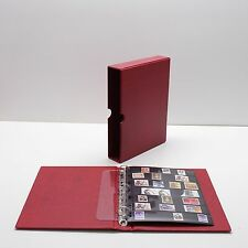 VARIO Red 3 Ring Binder w 20 Seven Pocket Pages for Stamp, Currency & Other