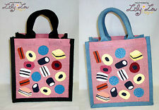 Liquorice Allsorts Jute Lunch Bag natural eco gift novelty Fun Sweets Kids