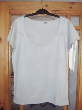 LADIES PALE GREY SHORT SLEEVE COWL NECK FINE KNIT JUMPER FROM LA REDOUTE BNIP