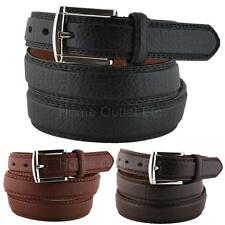 """1-1/8"""" Pebble Grain Leather Dress Belt Double-Stitched Edge Classic Traditional"""