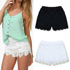 Mode Damen Elastic High Waist Shorts Blumen Spitze Hotpants Mini Kurz Hose S-3XL