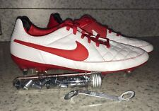 NEW Womens 10 NIKE iD Tiempo Legend V Pro Red White SG Soccer Cleats Boots
