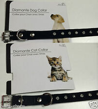 Fashion Small Dog Puppy or Cat Collar Black with Diamonte details adjustable