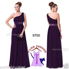 Sequins Empire Waist Ruffles Padded Chiffon Purple Formal Long Dress UK 6-18
