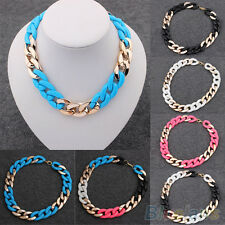 Hot Womens Jewelry Mixed Colorful Chunky Chain Bib Statement Rock Punk Necklace