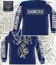 SONS OF ANARCHY SOA CRACKED SAMCRO LOGO BANNER GRIM REAPER L/S T TEE SHIRT S-3XL