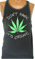 Men's Ringer Tank Top Muscle Top Sleeveless Don't Panic it's Organic Weed Mary