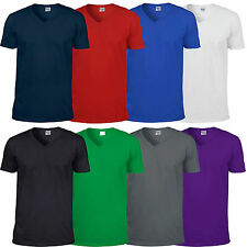 Mens Gildan Softstyle V Neck Cotton T Shirt Top Casual Leisure Sport Work GD010