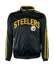 Pittsburgh Steelers Men's M-XL Full Zip Embroidered Track Jacket NFL Black A14M