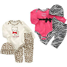 Toddler Girls baby 3pcs Outfits Clothes Romper Bodysuit+Trousers+Hat 9-24M