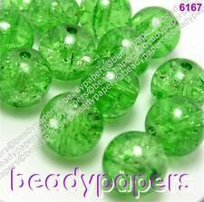 40 - 70 Round Glass Crackle Beads Sparkling Green 10 mm 6167