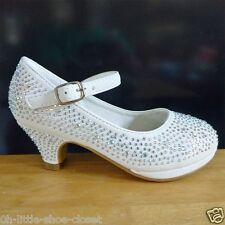White Pageant Crowning Flower Girls Dress Dance Shoes Youth Size 1, 2, 3, 4