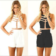 Sexy Women Summer Crew Neck Playsuit Evening Party Jumpsuit Rompers Shorts