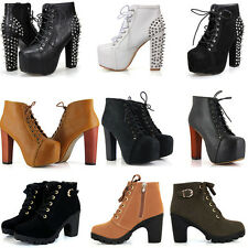 Women Sexy Ankle Boots Platform Round Toe Thick High Heels Strappy Lace-Up Shoes