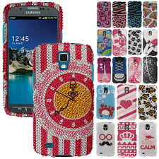For Samsung Galaxy S4 Active i537 Phone Bling Diamonds Gem Hard Case Cover