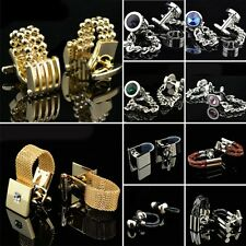10 Classic style Mens Chain Leather Silver Gold Crystal Wedding Party Cufflinks
