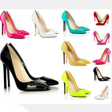 Women Ladies Sexy High Heels Pointed Corset Style Patent Work Pumps Court Shoes