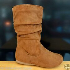 Youth Tan Suede Dress Casual Slouchy Flat Boots Girl's Size 13, 3, 4