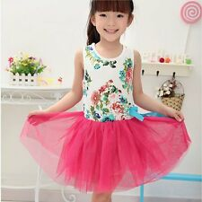 Girls Baby Toddler Kid's Clothes Sleeveless Floral Tutu Dress Party Dress 2-6Y