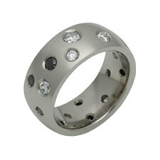 Titanium Ring Two Color Cubic Zirconia Stone Wedding Band Free Sizing 4 to 14