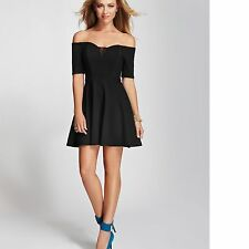New Guess Women's Off-the-Shoulder Black Fit-and-Flare Dress Sz 4