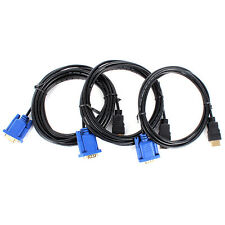 1.8M 3M 5M HDMI Gold Plated Male To VGA 15Pin HD-15 Male Cable For PC Video TV