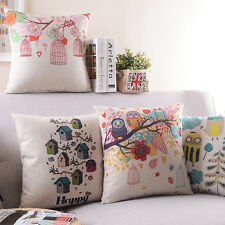 """18"""" Pillow Case Home Decor Room Car Sofa Back Cushion Cover 7 Styles Birds Cages"""