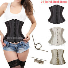 28 Spiral Steel boned Waist training Underbust Satin Corset Shapewear S-6XL SY