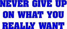 * NEVER GIVE UP ON WHAT YOU REALLY WANT inspiration sticker decal home decor