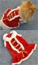 Puppy Pet Dog Cat Red Velvet Fur Collar Christmas clothes Dress Birthday Party