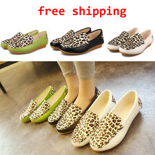 Lady Girls Tod's Flats Leopard Print PU Leather Slip-on Casual Shoes Loafers