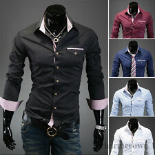 New Luxury Mens Stylish Slim Fit Long Sleeve Casual Dress Shirts Tops 5 Colors