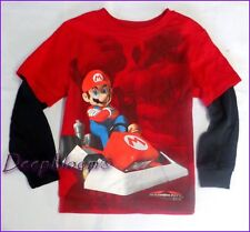 SUPER MARIO TOP TEE SHIRT BOYS VIDEO GAMES KART LONG SLEEVE SZ 4 5 6 7 NEW