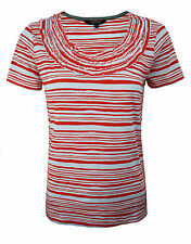 Womens Maine T-Shirt Top Frilly Orange - White Stripes Size 6 to 22 Ladies A23