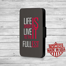 Life Is Short Qoute Leather Wallet Case For iPhone and Galaxy