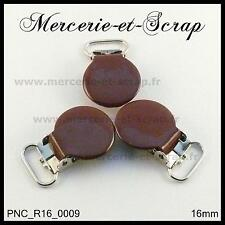 2 / 5 / 10  PINCES A BRETELLE ROND CROCODILE MARRON 16 mm