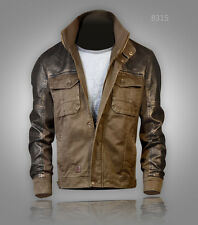 New UK Men's Military Army Casual Harrington Jacket Jeep faux leather detail