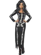 Skeleton Tube Dress Halloween Fancy Dress Costume Ladies Womens
