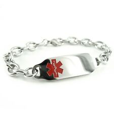 Ladies Womens Medical Alert Jewelry, ID Bracelet, ENGRAVED O-LINK Chain i2C-BS2