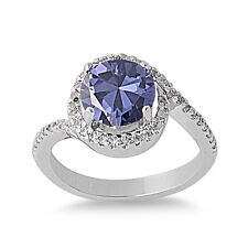 .925 Sterling Silver Round Cut Tanzanite & Clear CZ Promise Ring Size 5-9 NEW