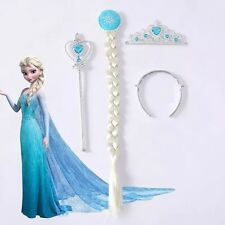 Hot Frozen Queen Elsa Crown & Wigs & Magic Wand Girls Gift for Hallowmas Dresses