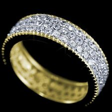 New Ladies 14K Yellow Gold Fin Lab Diamond Wedding Engagement Infinity Ring Band