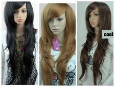 Fashion Long Wavy Curly Women Hair Wig Straight Brown/Black Full Cosplay Wig+Cap