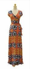 Red with Blue Floral Print Short Sleeve Wrap Maxi Dress