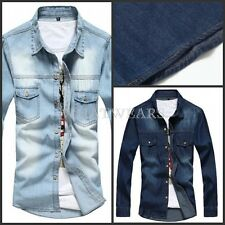 Top Fashion Mens Casual Denim Shirt Wash Thin Slim Fit Jeans Shirts FTS