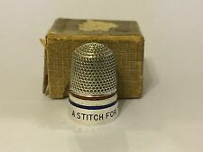 C1914 WW1  Silver Enamel Thimble Stitch For Red White & Blue
