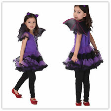 New Arrival Party Children Kid Fancy Dress Halloween Purple Bat Cosplay Costume