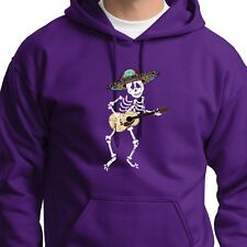 SKELETON Playing Guitar Funny Mexican Sombrero Tee Halloween Hoodie Sweatshirt