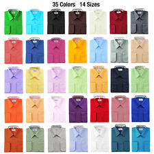 Berlioni Solid Dress Shirt w/ Barrel Convertible Cuffs Many Colors Retail $69